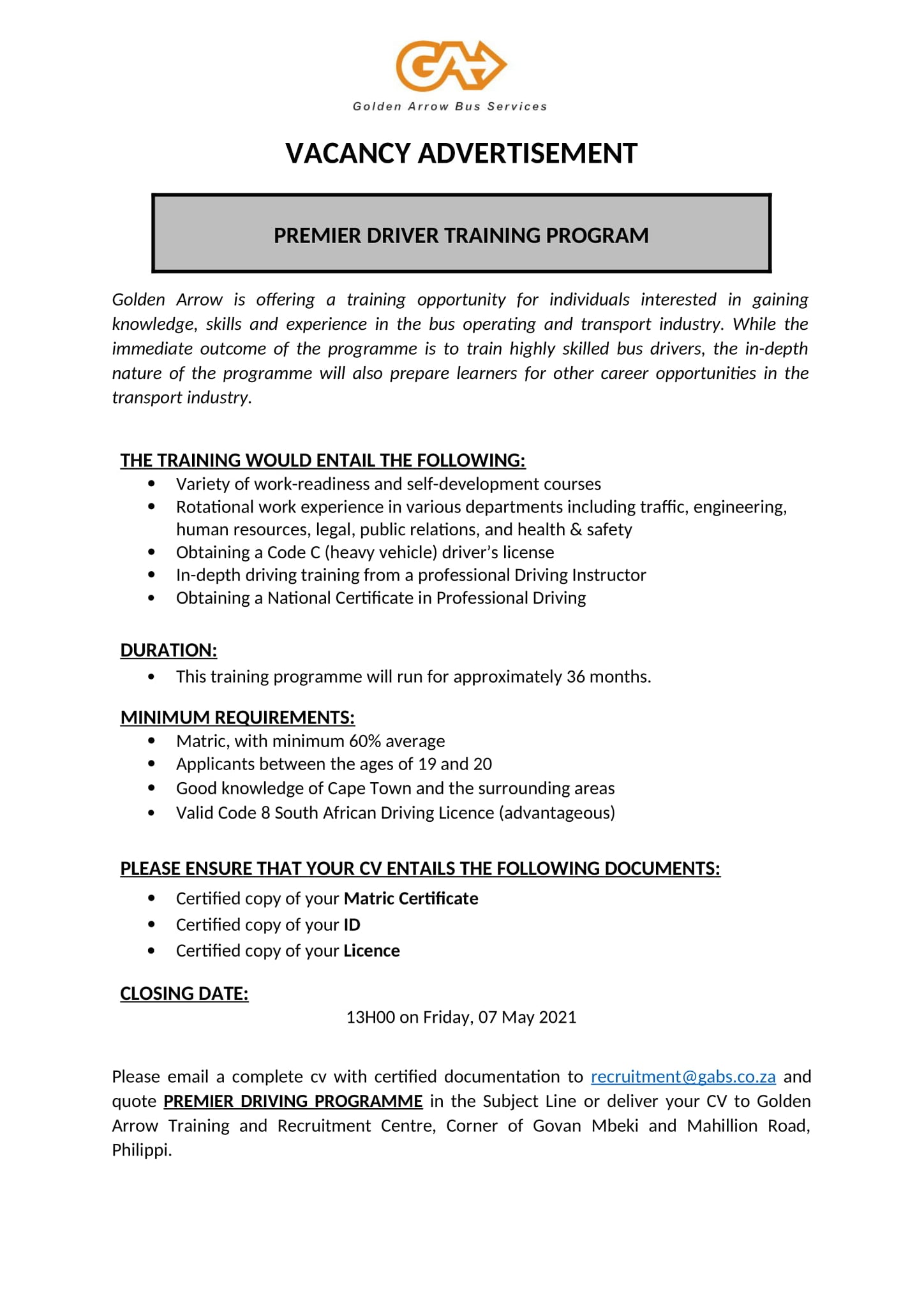 Youth Premier Driver Training Programme
