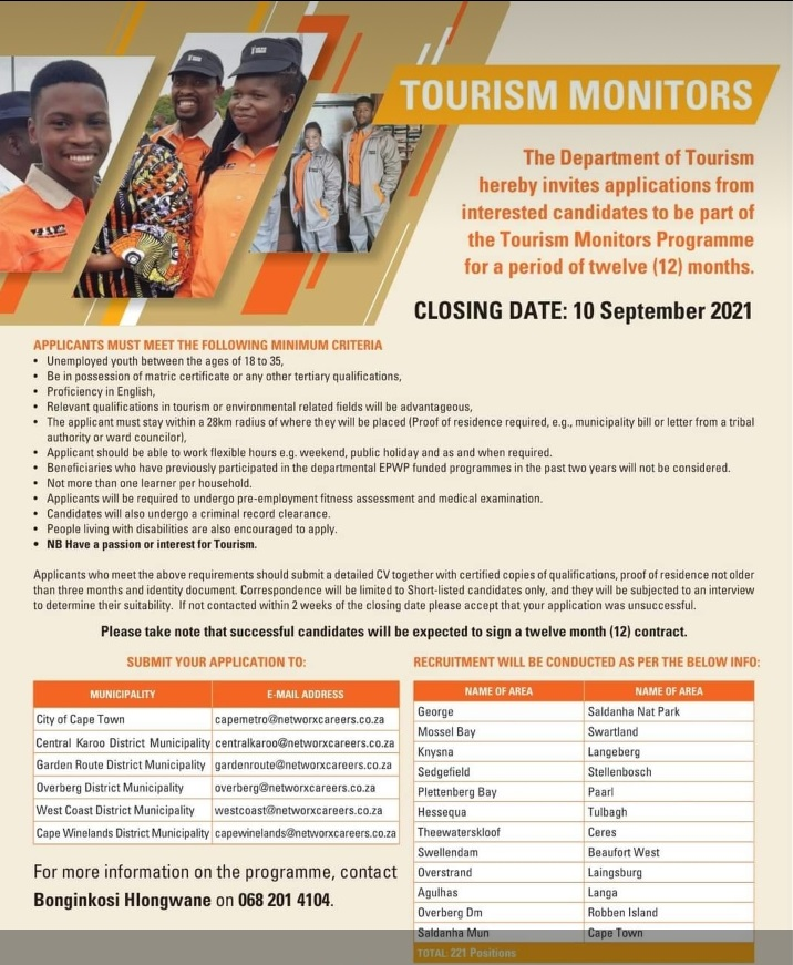 Tourism Monitors Learnership Opportunity